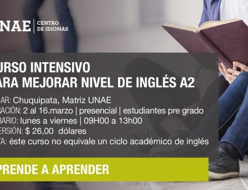 CURSOINTENSIVOPARA ESTUDIANTES DE PRE GRADO QUE DESEAN MEJORAR NIVELDE INGLÉS A2