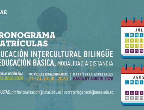 Cronograma de matrículas para los estudiantes del periodo académico de la carrera de educación básica e intercultural bilingüe (convenio MINEDUC) en modalidad a distancia