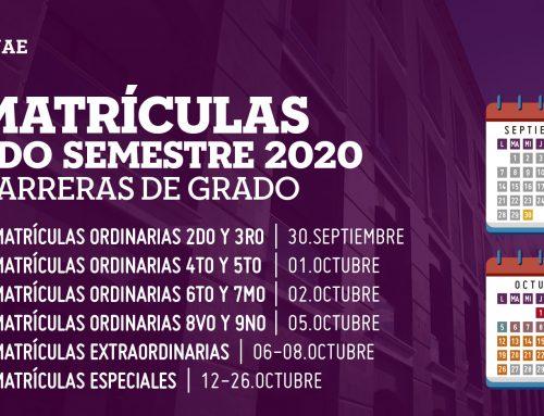 PERÍODO DE MATRÍCULAS SEGUNDO SEMESTRE 2020 – CARRERAS PRESENCIALES