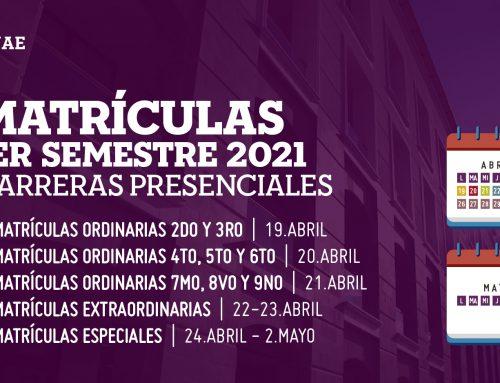 PERÍODO DE MATRÍCULASPRIMERSEMESTRE 2021– 2do a 9no CARRERAS PRESENCIALES