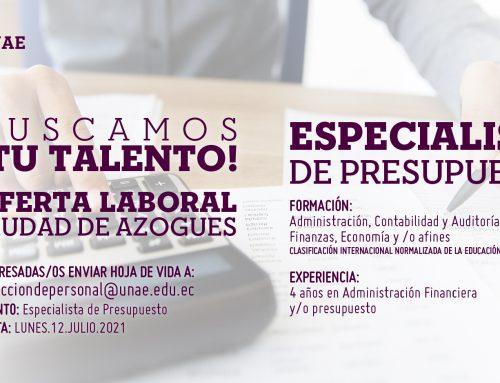 Oferta Laboral, Especialista de Presupuesto