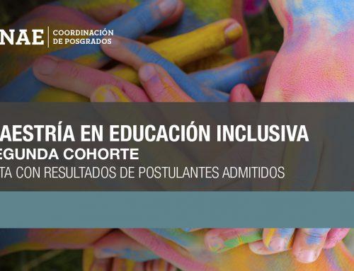 Acta con los resultados de postulantes admitidos a la Maestría en Educación Inclusiva
